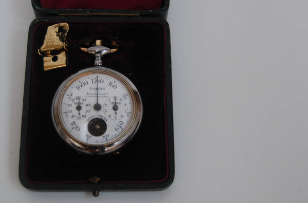Edwardian Cased Henri Chatelain Pedometer Retailed by Aitchison & Co