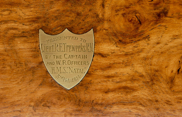 Pollard Oak Triple Decanter Case Presented to Lieut RE Treweeks Royal Navy of HMS Natal