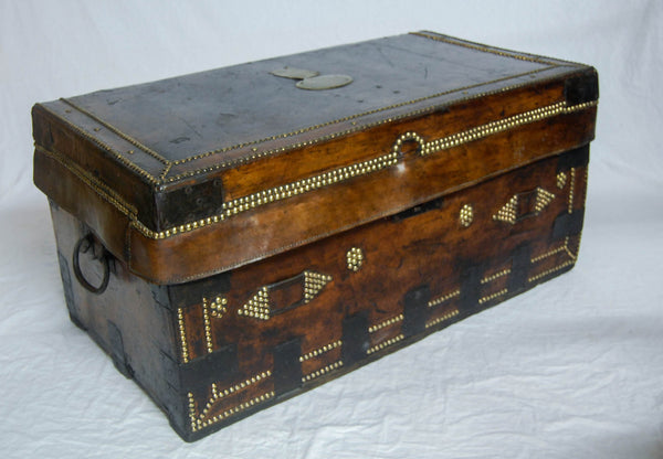 Late Eighteenth Century Napoleonic Period Leather Bound Campaign Trunk by Thomas Griffith, London.