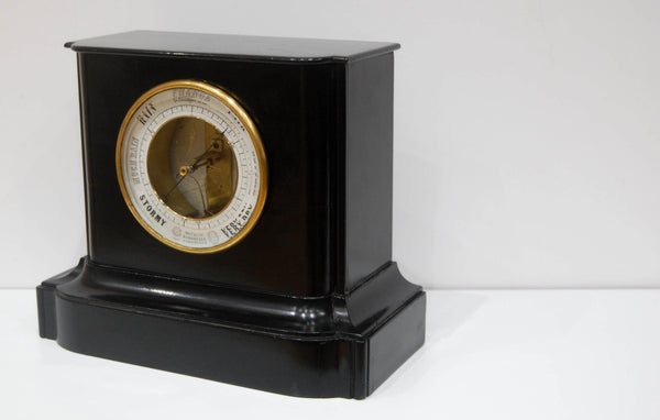 Early Bourdon Aneroid Mantel Barometer in Ebonised Wood Case
