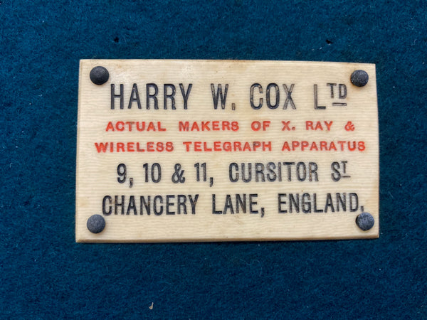Edwardian Portable Heavy Discharge X-Ray Coil by Harry W Cox & Co Ltd London