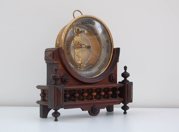 French Victorian Bourdon Aneroid Barometer on Stand by Jules Richard of Paris