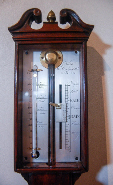 A George III Mahogany Stick Barometer by John Webb of 408 Oxford Street, London