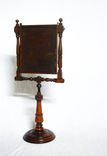 Large Georgian Mahogany Zograscope Optical Viewer with Turned Base & Struts