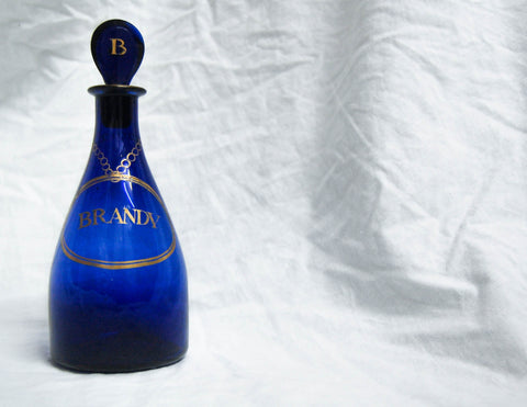 Georgian Bristol Blue Glass Club Shaped Brandy Decanter with Applied Gilt Lettering
