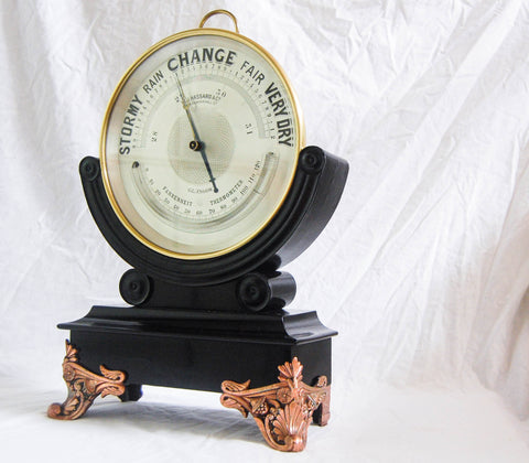 "Huge Late Victorian 10"" Dial Brass Aneroid Barometer on Ebonised stand by WJ Hassard Opticians Glasgow"