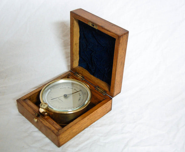Victorian Oak Cased Ship's Barometer by Henry Hughes - Thames Marine Officers Training School Prize