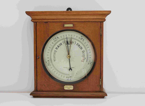 Large Victorian Public Display Aneroid Barometer in Oak Case by Negretti & Zambra London