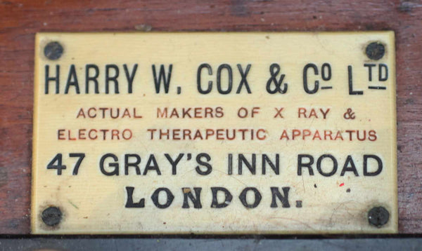 Rare Edwardian Heavy Discharge X-Ray Coil by Harry W Cox & Co Ltd London