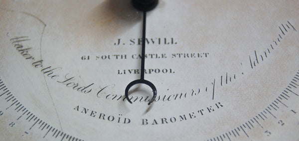 Late Victorian Brass Cased Aneriod Barometer by Joseph Sewill, 61 South Castle Street, Liverpool