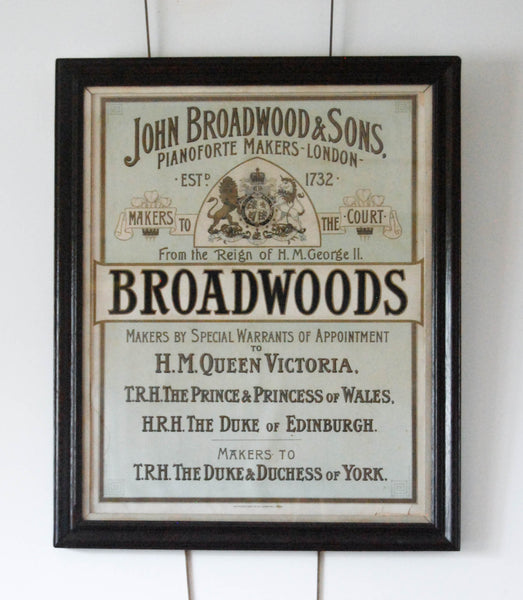 Late Victorian Advertising Print for John Broadwood & Sons Piano Forte Makers, London