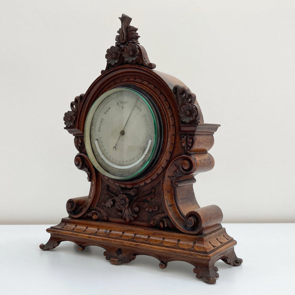 Mid-Victorian Aneroid Barometer in Carved Oak Case by J Hicks of London.
