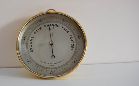 Late Victorian Aneroid Barometer with Eight Inch Dial by Guilbert & Cie Paris