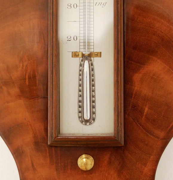 Early Victorian Flame Mahogany Wheel Barometer by Thomas Agnew Manchester