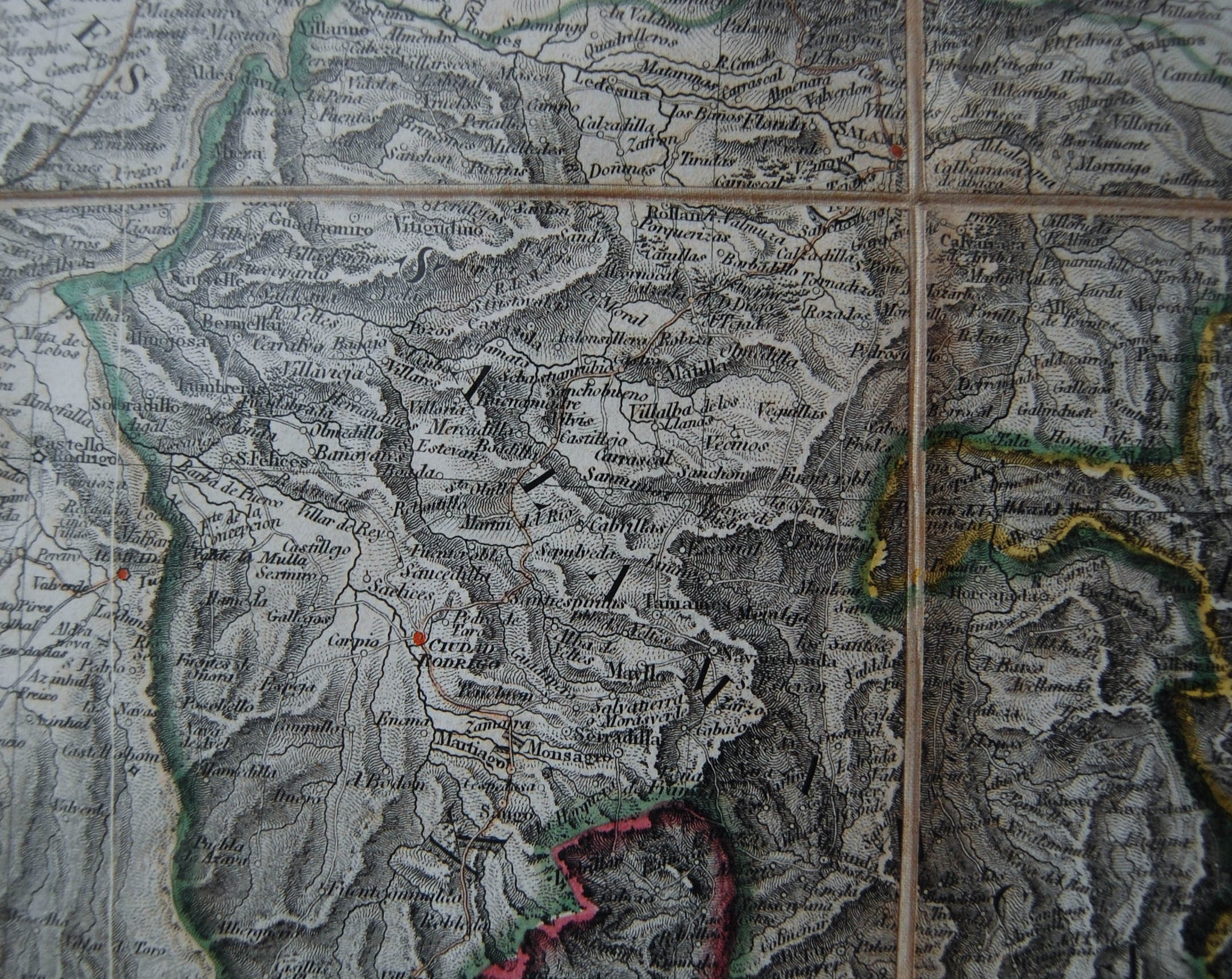 George III Period Four Part Military Map Of Spain Portugal By - Portugal geology map