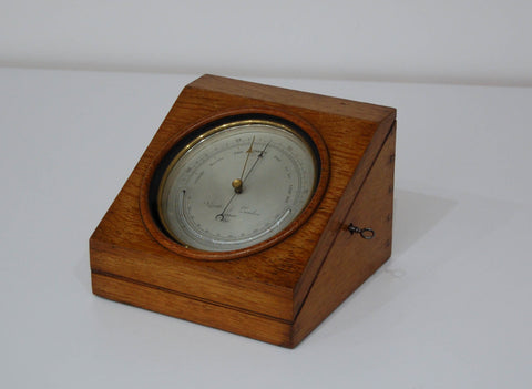 Mid-Victorian Desk Aneroid Barometer in Oak Case by Negretti & Zambra