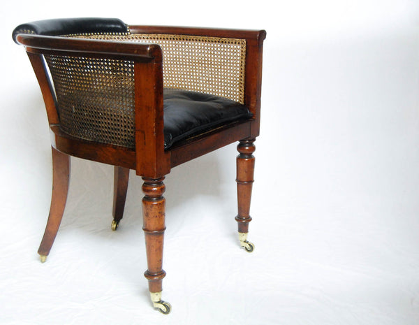 Regency Mahogany Caned Library Tub Chair or Desk Chair by Miles & Edwards