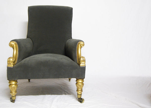 Giltwood & Velvet Upholstered Library Chair by Miles & Edwards