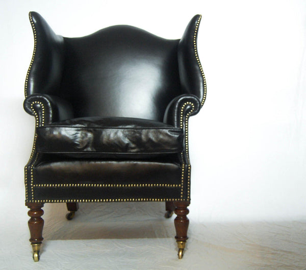 Early Nineteenth Century Mahogany & Leather Wingback Library Armchair
