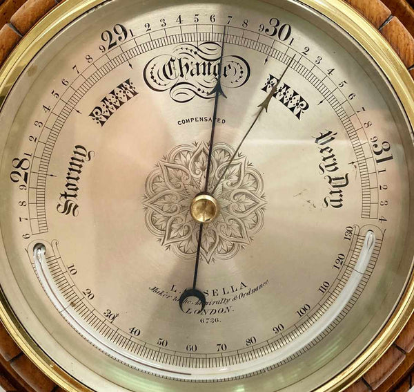 Mid Victorian Oak & Brass Cased Aneroid Barometer by Louis Casella London