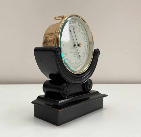 Late Victorian French Aneroid Desk Barometer on Stand by Naudet for V&H Doninelli of Nice