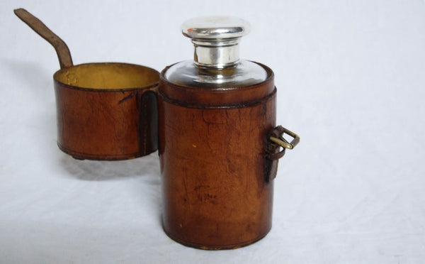Edwardian Leather Travelling Case with Glass Decanter & Silver Lid by Percy Whitehouse, London 1903