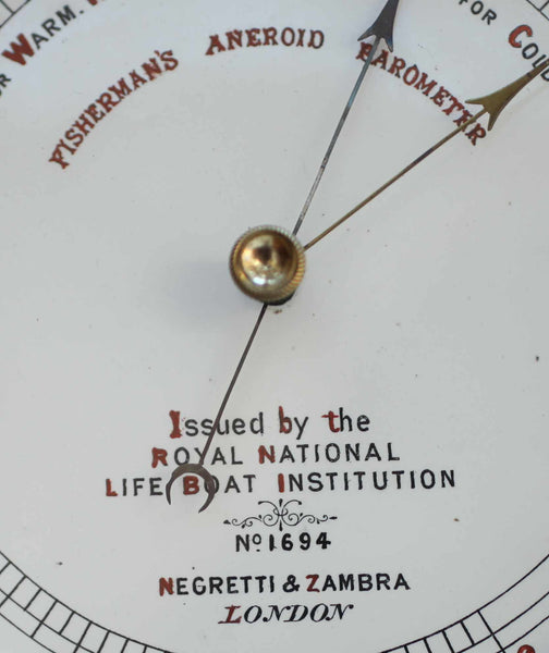 Victorian RNLI Fishermans Aneroid Barometer by Negretti & Zambra London - No 1694