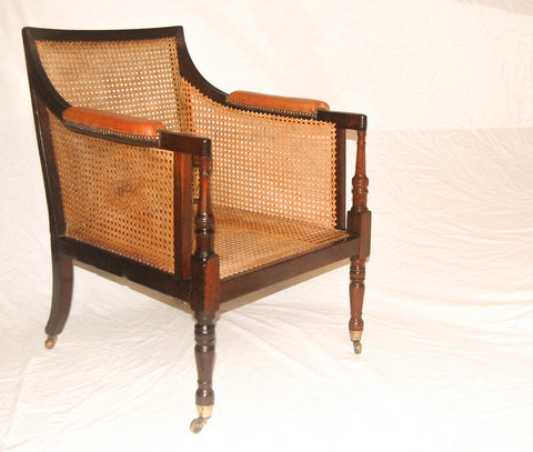 Regency Caned Mahogany Bergere Library Chair