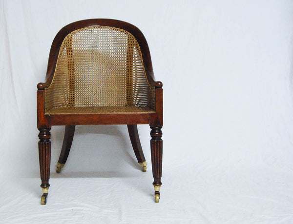 Regency Period Beechwood Bergere Library Tub Chair Attributed to Gillows of Lancaster