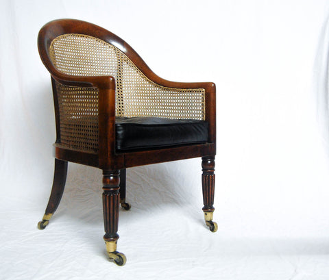 Rare Regency Mahogany Bergere Library Tub Chair Attributed to Gillows of Lancaster