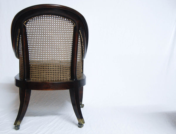 Regency Period Oak Bergere Library Chair or Bedroom Chair attributed to Gillows of Lancaster