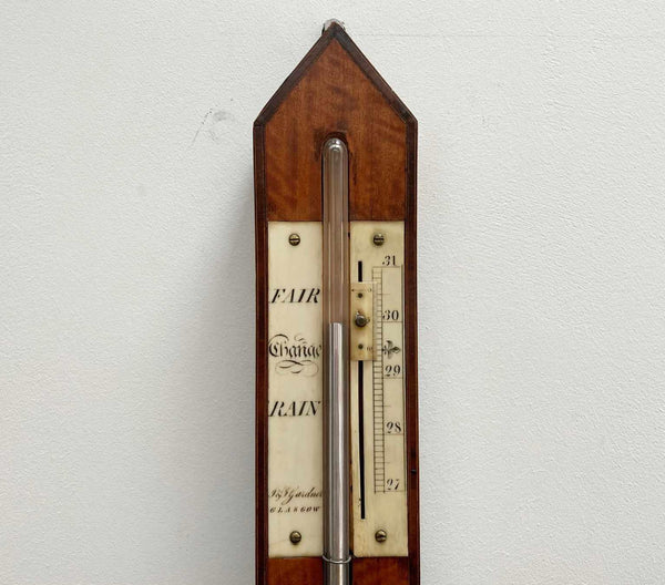 Early Nineteenth Century Scottish Satinwood Stick Barometer by J&J Gardner of Glasgow