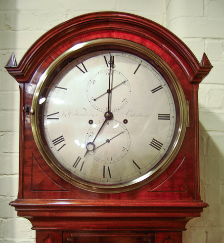 Scottish Regency Period Mahogany Long Case Semi Regulator Clock with Silvered Dial by J&W Howden & Co, Edinburgh