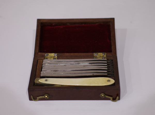 William IV Cased Set of Seven Day Cut Throat Razors by Sansom Harwood & Co Sheffield