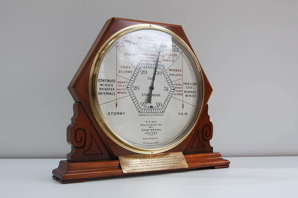 Art Deco Period Shop Display Stormoguide Aneroid Barometer by Short & Mason