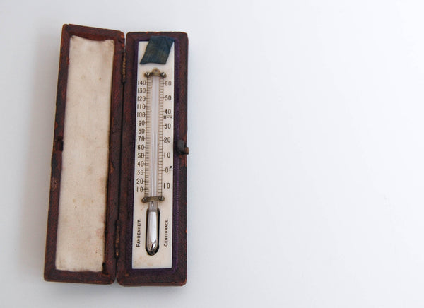 Small Edwardian Leather Cased Travelling Thermometer by WE Pain of Cambridge