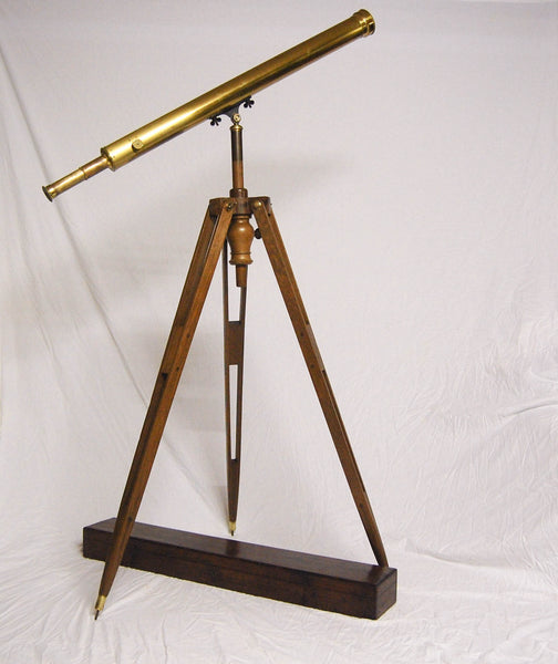 "French Early Victorian Brass Lacquered Telescope on Walnut Stand with Case ""Cauchoix Quai Voltaire a Paris"""