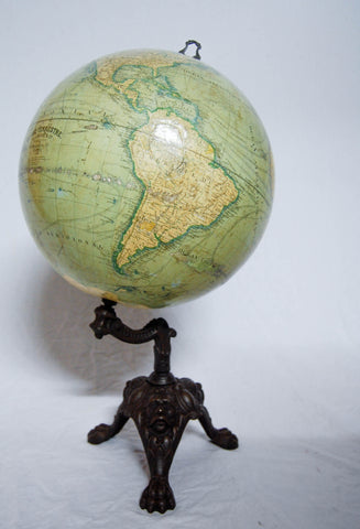 Late Victorian French Terrestrial Globe on Cast Iron Base by J. Lebegue & Cie, Paris