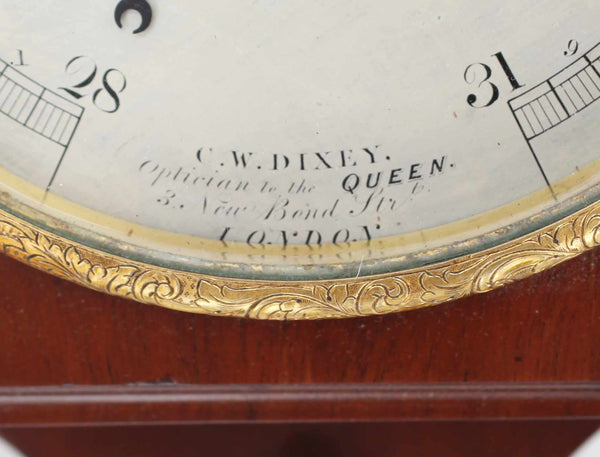 Early Victorian Mahogany Wall Aneroid Barometer by CW Dixey of London