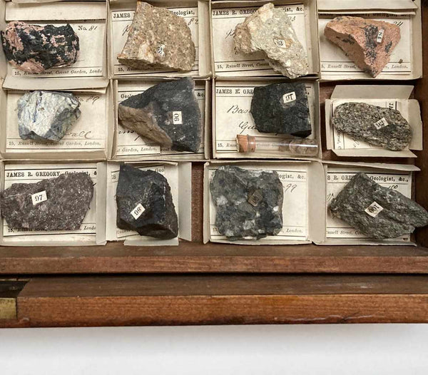 Rare Mid Victorian Collection of Rocks & Minerals by James R Gregory London