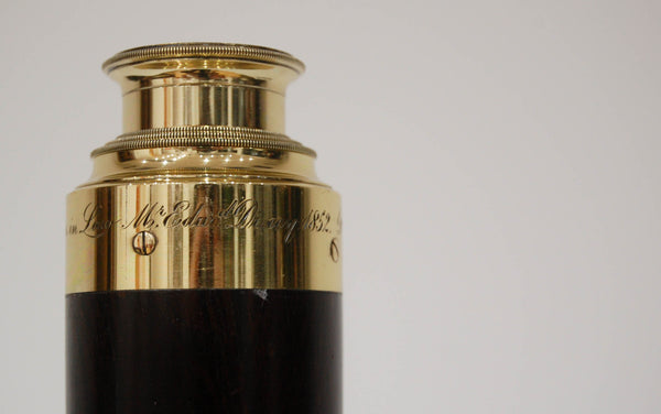 Victorian Three Draw Telescope by William Dixey Engraved with an Edward Dixey Dedication