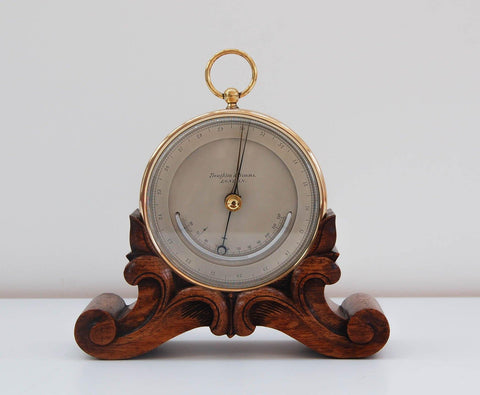Early Victorian Aneroid Barometer on Stand by Troughton & Simms & Engraved to George Sibley