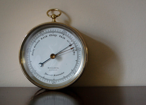 Mid Victorian Brass Cased Aneroid Barometer by Dollond of London