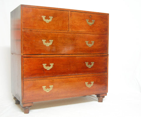 Victorian Two Sectioned Campaign Chest with Brass Flush Handles
