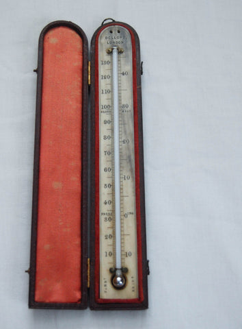 Nineteenth Century Leather Cased Travelling Thermometer by Dollond of London