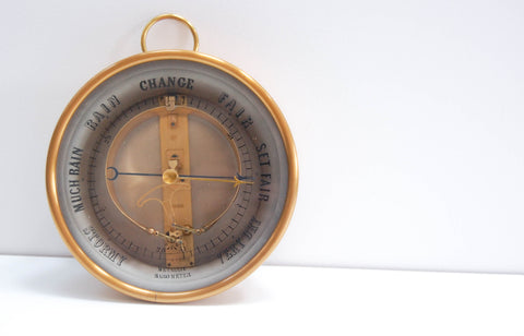 Victorian Bourdon Barometer by Jules Richard with Painted Glass Dial