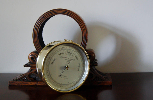 Early Victorian Brass Cased Desk Aneroid Barometer by Negretti & Zambra in Carved Oak Case