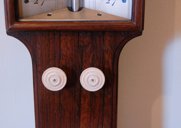 Early Victorian Rosewood Stick Barometer with Double Vernier & Bone Float by JB & J Ronchetti Manchester