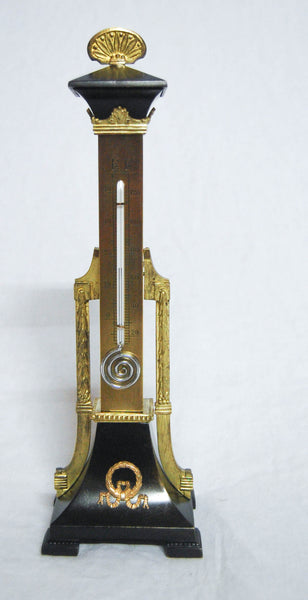 Mid Victorian Gilt Brass Sectioned Tower Desk Thermometer