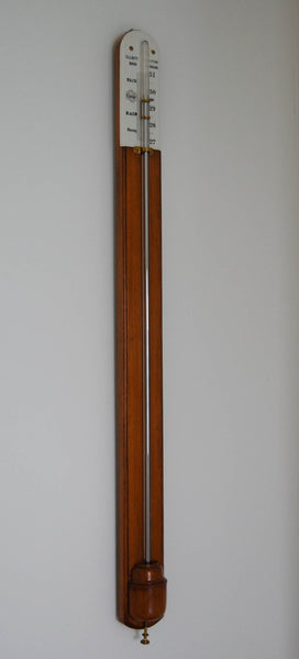 Mid Victorian Golden Oak Stick Barometer by Elliott Brothers London